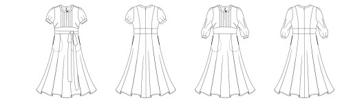Itch to Stitch Giverny Dress PDF Sewing Pattern Line Drawing
