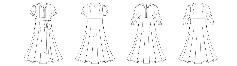 Itch to Stitch Giverny Dress PDF Sewing Pattern Line Drawing