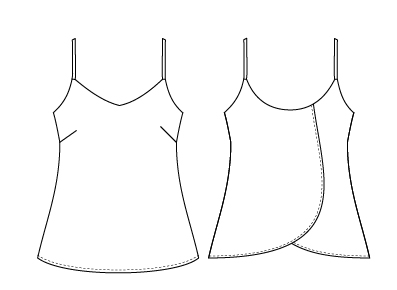 Itch to stitch: Crystal Cove Cami line drawing