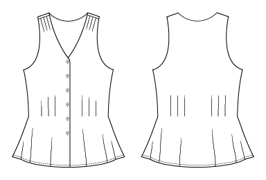 Itch to Stitch Dana Point Top PDF Sewing Pattern Line Drawings