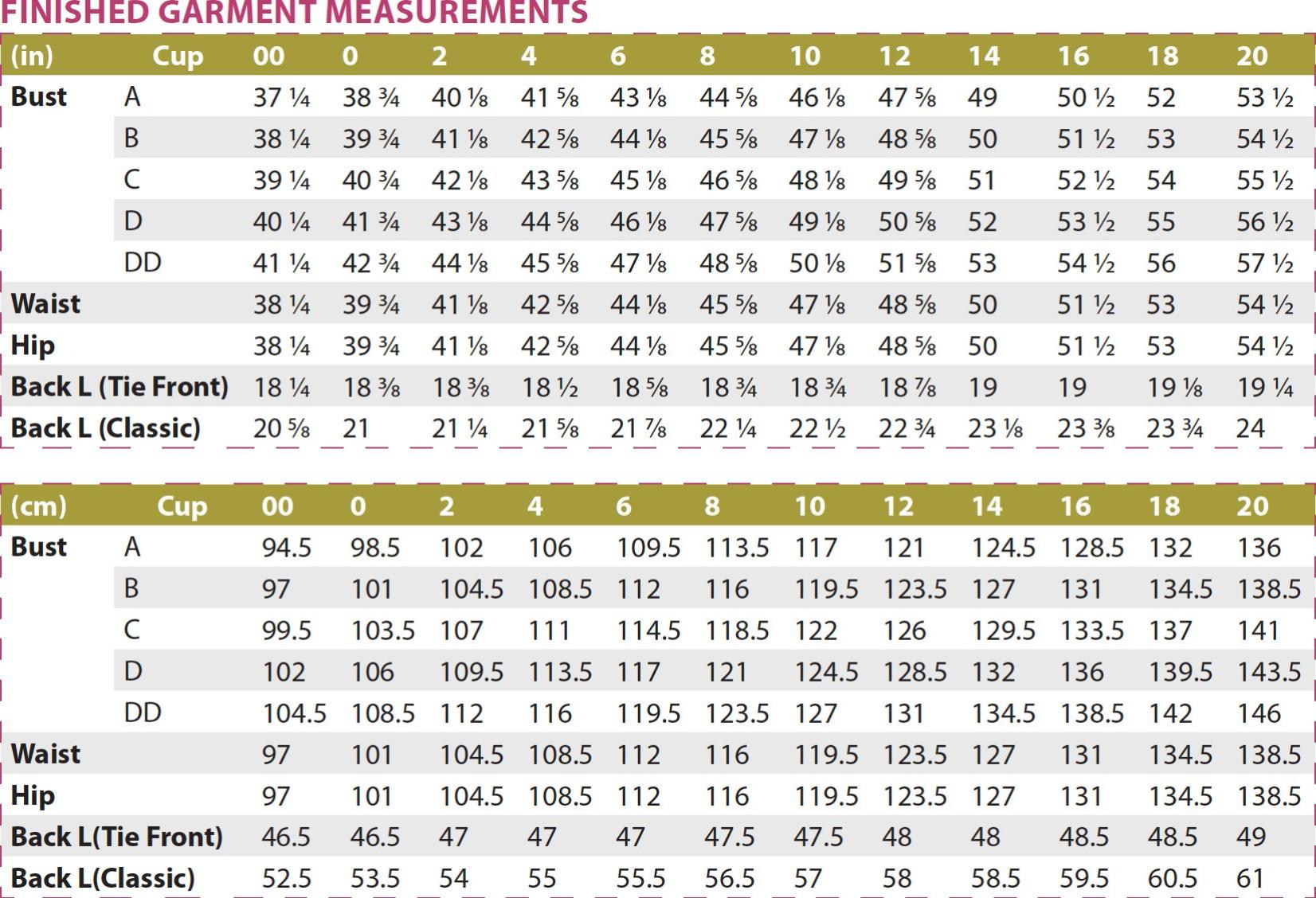 Montana Shirt PDF Sewing Pattern Finished Garment Measurements