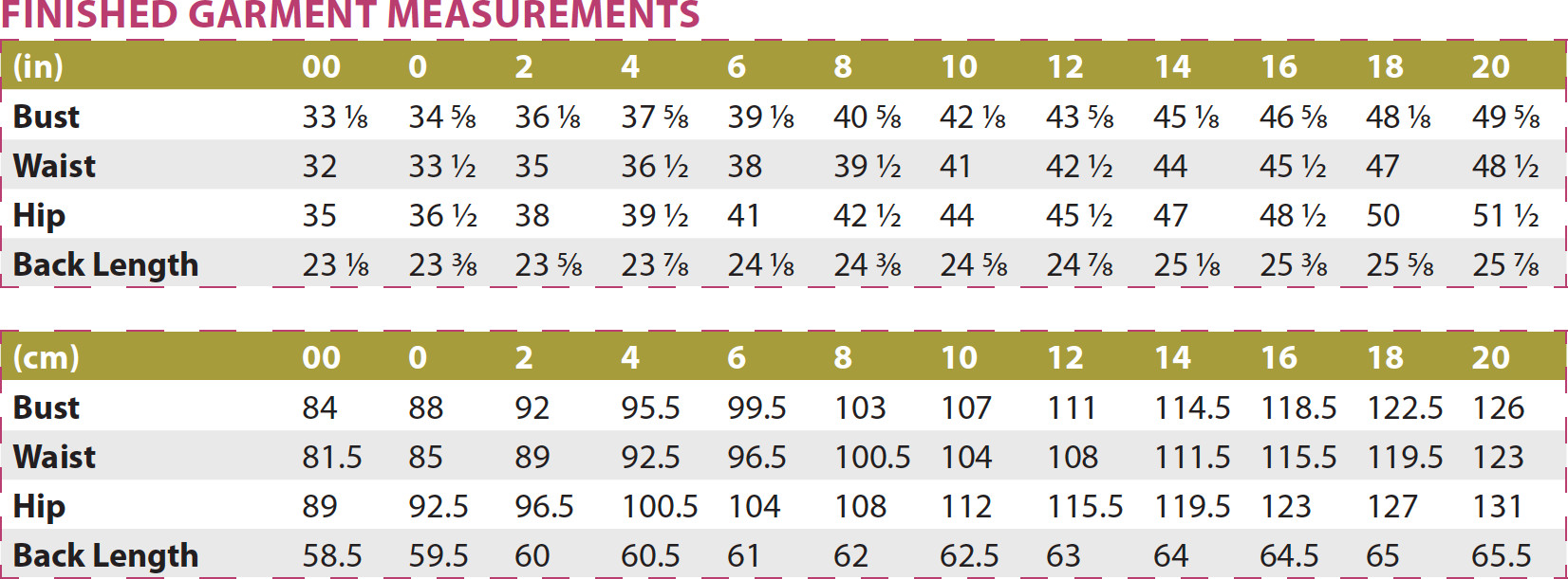 Busan Top PDF Sewing Pattern Finished Garment Measurements