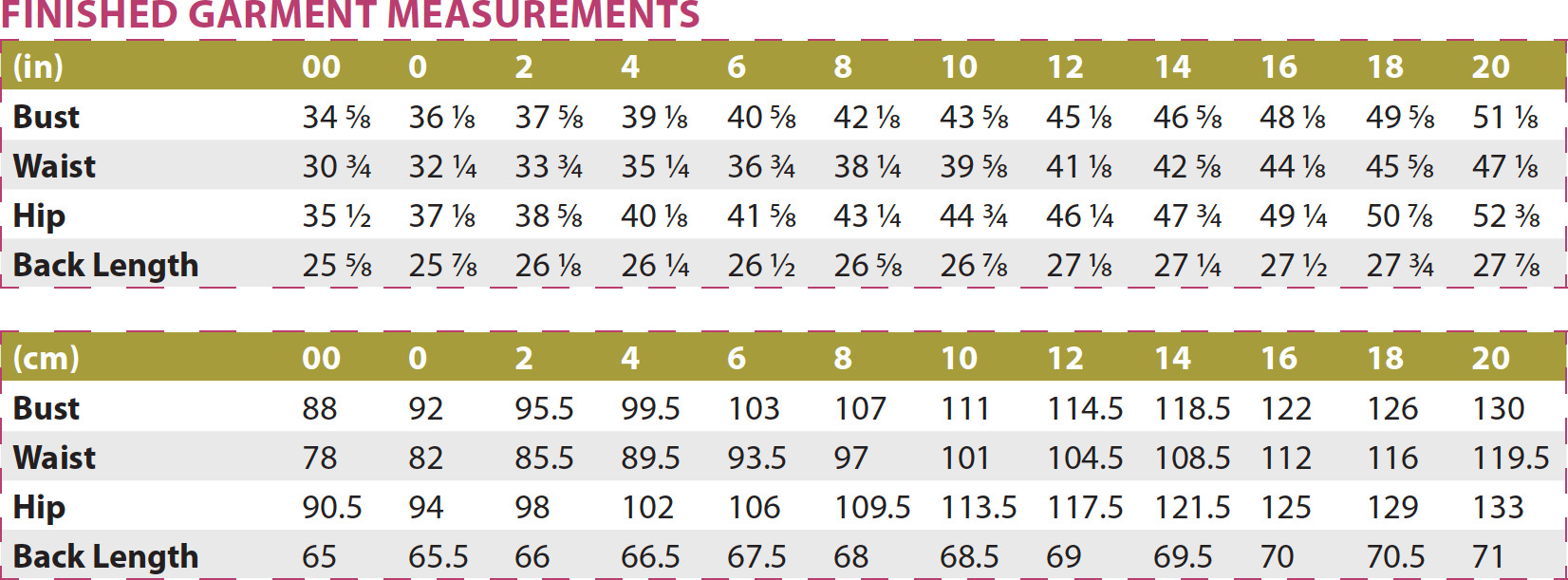Orono Top PDF Sewing Pattern Finished Garment Measurements