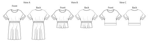 Itch to Stitch Melrose Top and Dress PDF Sewing Pattern Line Drawing