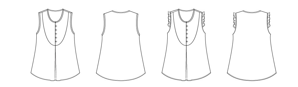 Itch to Stitch Kauai Top PDF Sewing Pattern Line Drawings