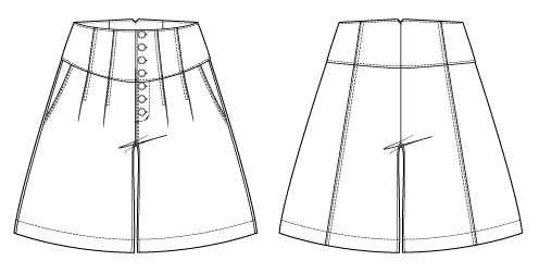 Itch to Stitch Gobi Culottes PDF Sewing Pattern Line Drawings