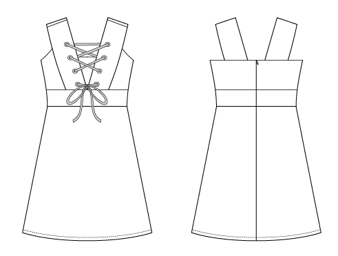 Itch to Stitch Oia Dress PDF Sewing Pattern Line Drawings