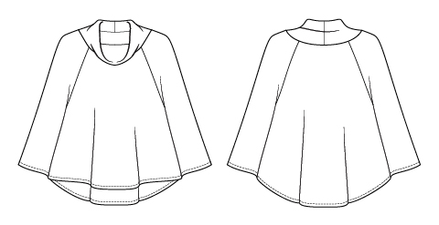 Itch to Stitch Cape Cod Capelet PDF sewing Pattern Line Drawings