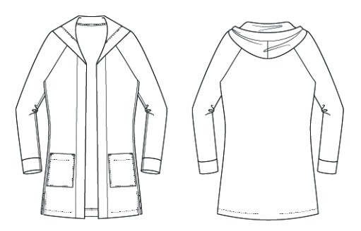 Itch to Stitch Castillo Cardigan PDF Sewing Pattern Line Drawing