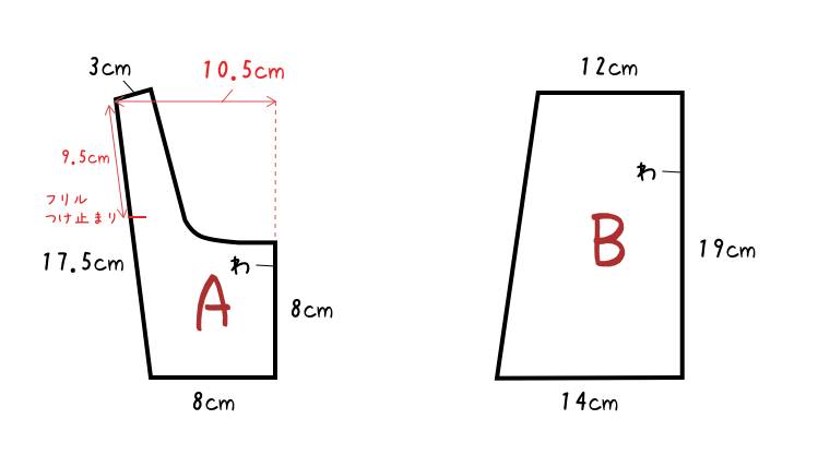 アリス用エプロン型紙AB