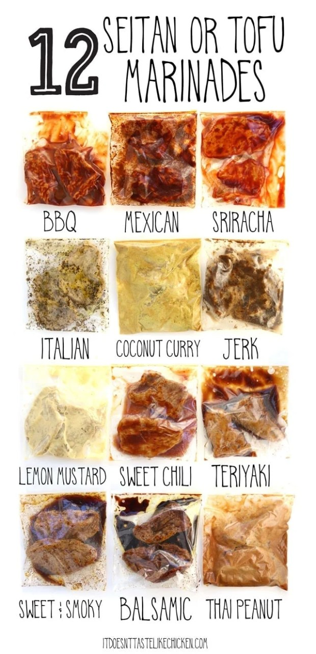 12 Seitan or Tofu Marinades! Each marinade takes less than 5 minutes to prepare using pantry staples you might already have on hand. Let your seitan or tofu marinate in the fridge for up to 4 days, or you can freeze them for later. #itdoesnttastelikechicken #seitan #veganrecipes