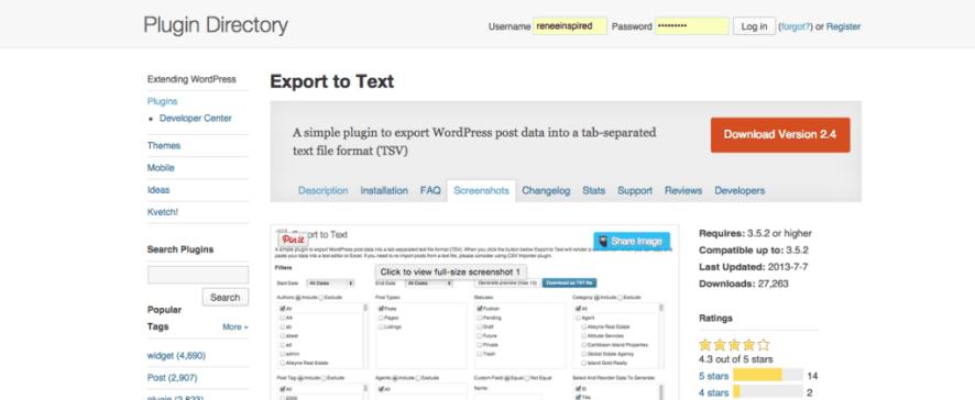 wordpress-export-csv