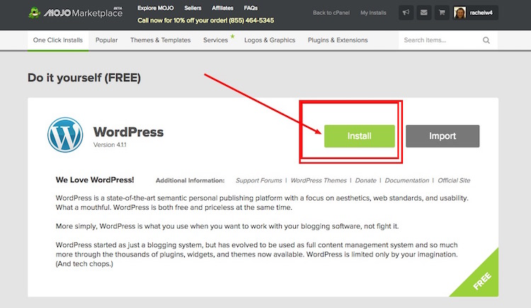 How to install WordPress for free