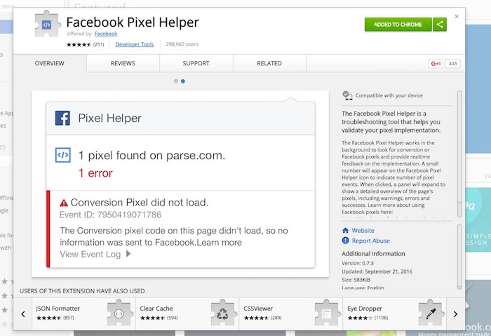 chrome-facebook-pixel-helper