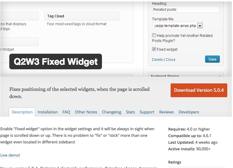 WordPress Plugin Q2W3 Fixed Widget