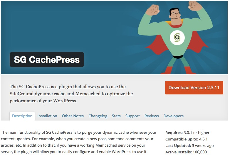 WordPress SiteGround Cache Plugin