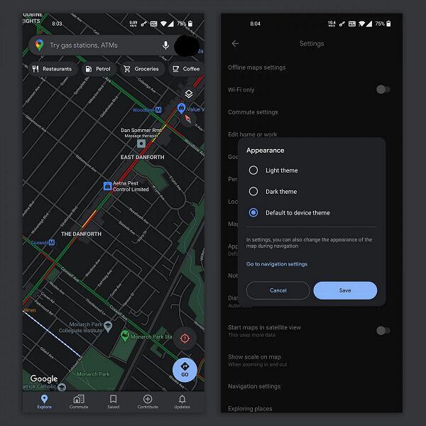 Додаток Google Maps отримав темний режим