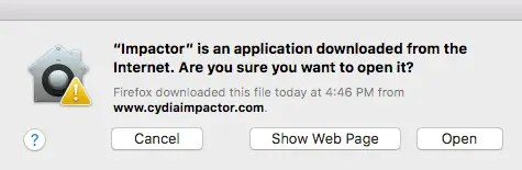 Cydia impactor warning