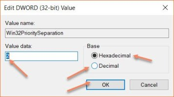 Win32 Priority Separation Using Regedit