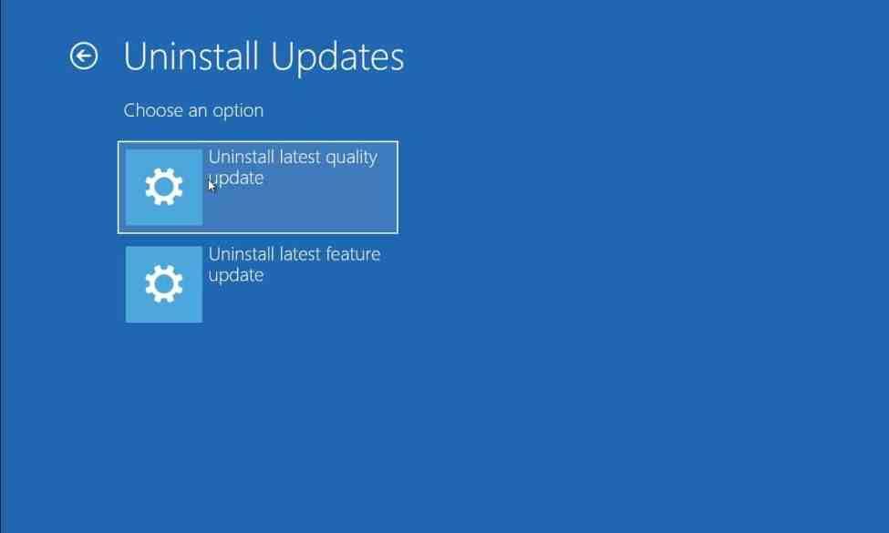 Windows güncellemesini kaldırın.