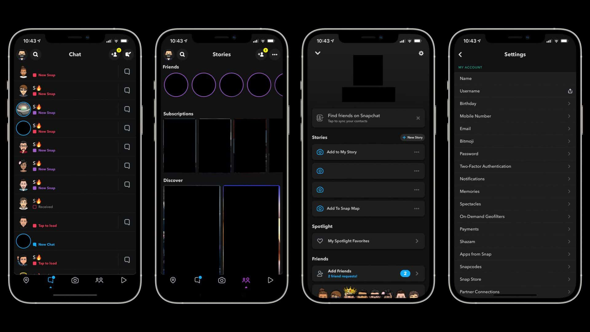 Dark Mode On Snapchat for iPhone