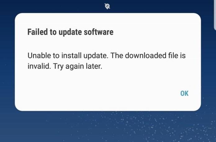 Galaxy S8 Software update failed