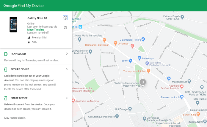 Guide to locate lost Note 10