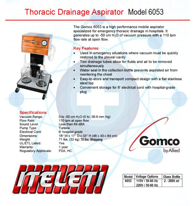 Gomco Model 6053 Brochure