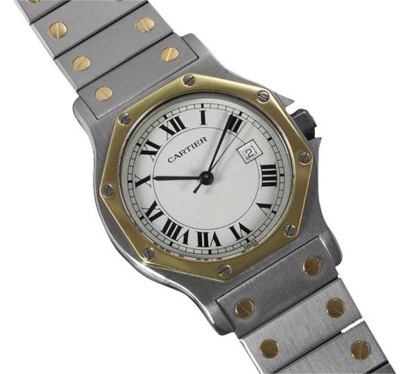Cartier White Santos Octagon Mens Midsize Ss   18k Gold Watch   Tradesy Cartier Cartier Santos Octagon Mens Midsize Watch  Automatic   SS   18K  Gold