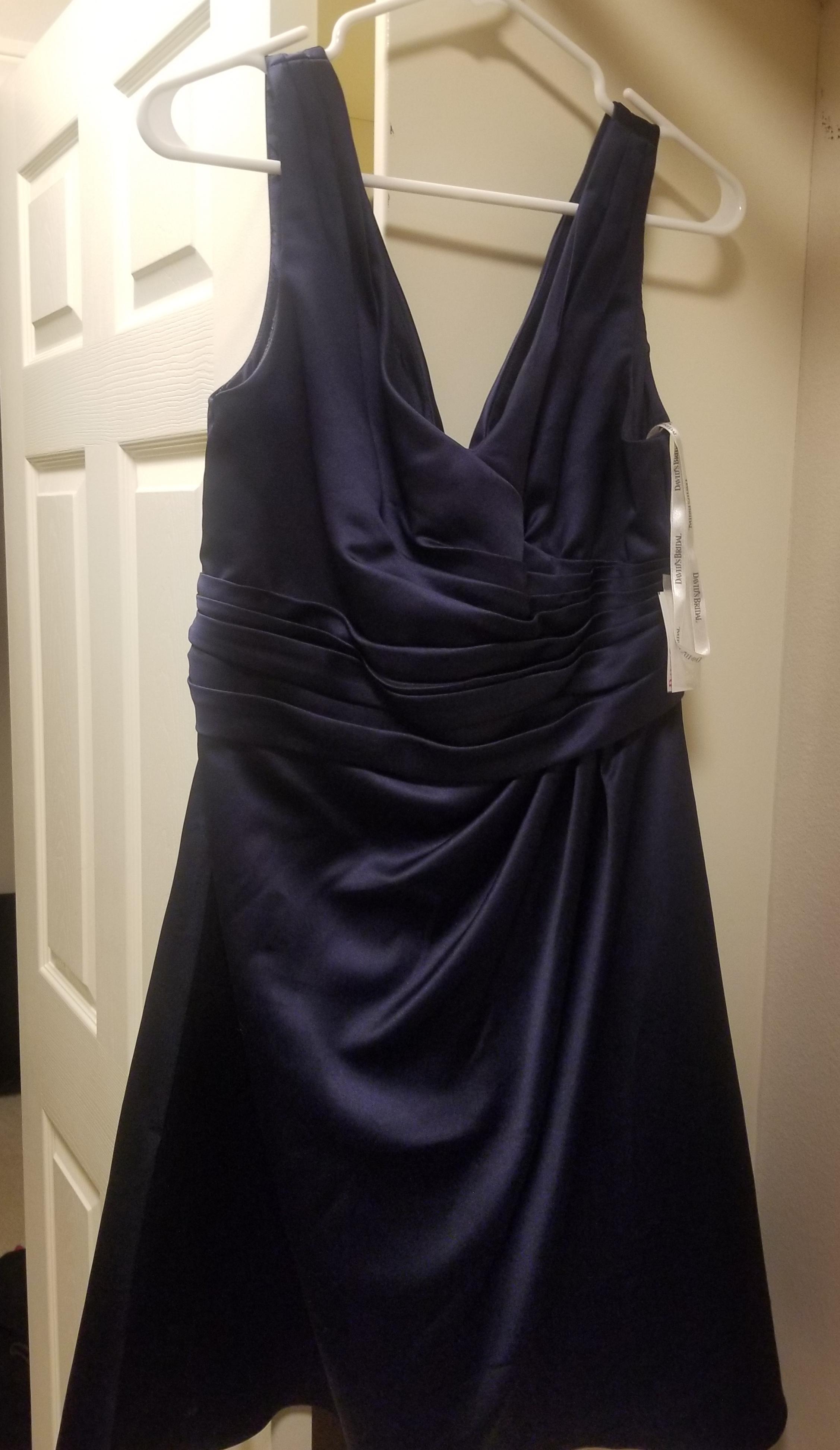 David s Bridal Marine Satin F14823 Modest Bridesmaid Mob Dress Size     David s Bridal Marine Satin F14823 Modest Bridesmaid Mob Dress Size 10  M