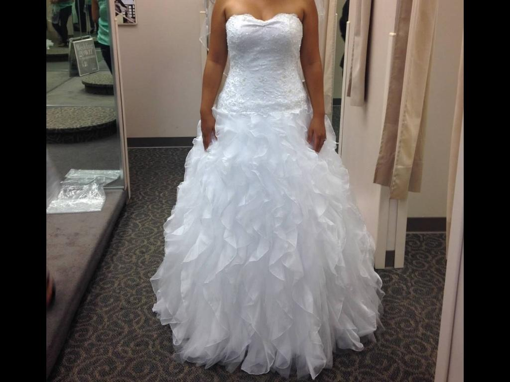 David's Bridal Tulle And Organza Ball Gown With Beaded