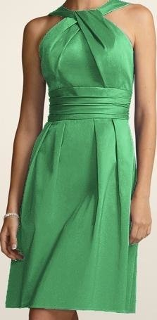 David s Bridal Green Cotton Short Y neck and Skirt Pleating     David s Bridal Green Cotton Short Y neck and Skirt Pleating Bridesmaid Mob  Dress Size