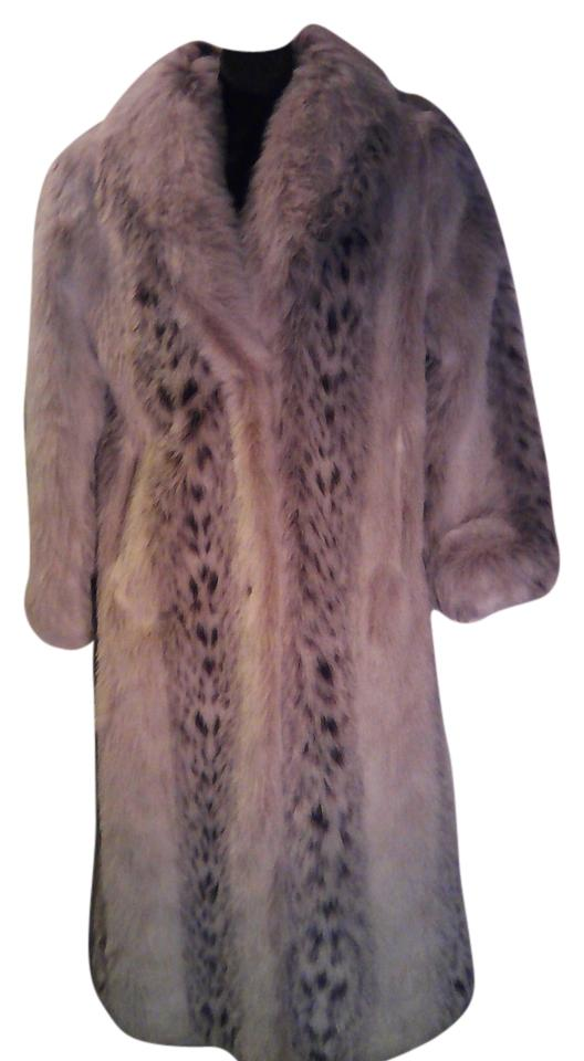 Beige and White with Brown Spots Faux Lynx Attached Tag Lower Inside     Monterey Fashions Fur Coat
