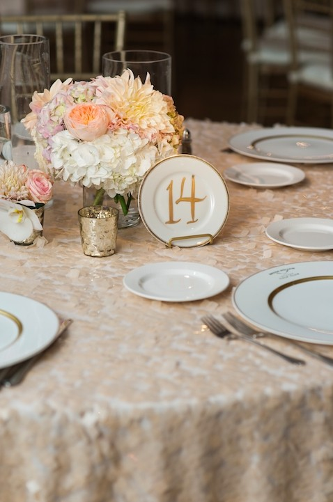 IvoryBlushGoldNeutrals Vintage Plate Table Number With