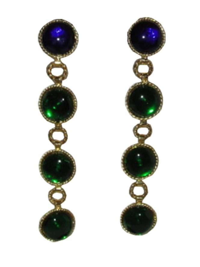 Chanel Runway Gripoix Glass Drop Chandelier Earrings Bullmastiffo