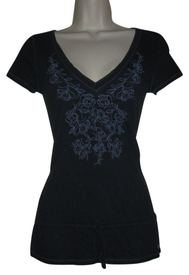 Hollister Navy Blue Womens Beads Embroidered Short Sleeve ...