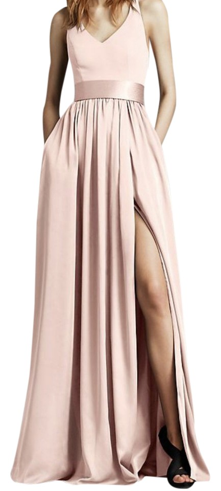 White by Vera Wang Blush V Neck Halter Gown with Sash Style     White by Vera Wang Modern Satin V neck Halter Bridesmaid Dress
