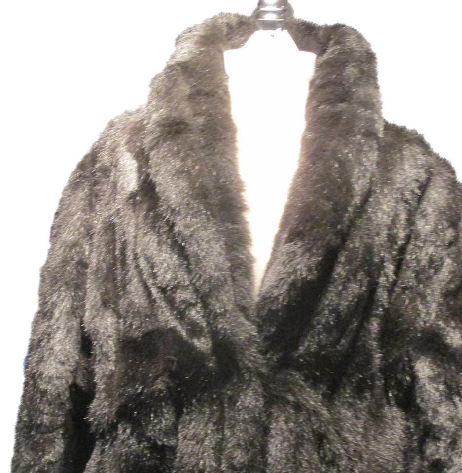 Black Brown Fashions faux Ankle Length Coat Size 18  XL  Plus 0x     Monterey Fashions Vintage Faux Ankle Length Fur Coat