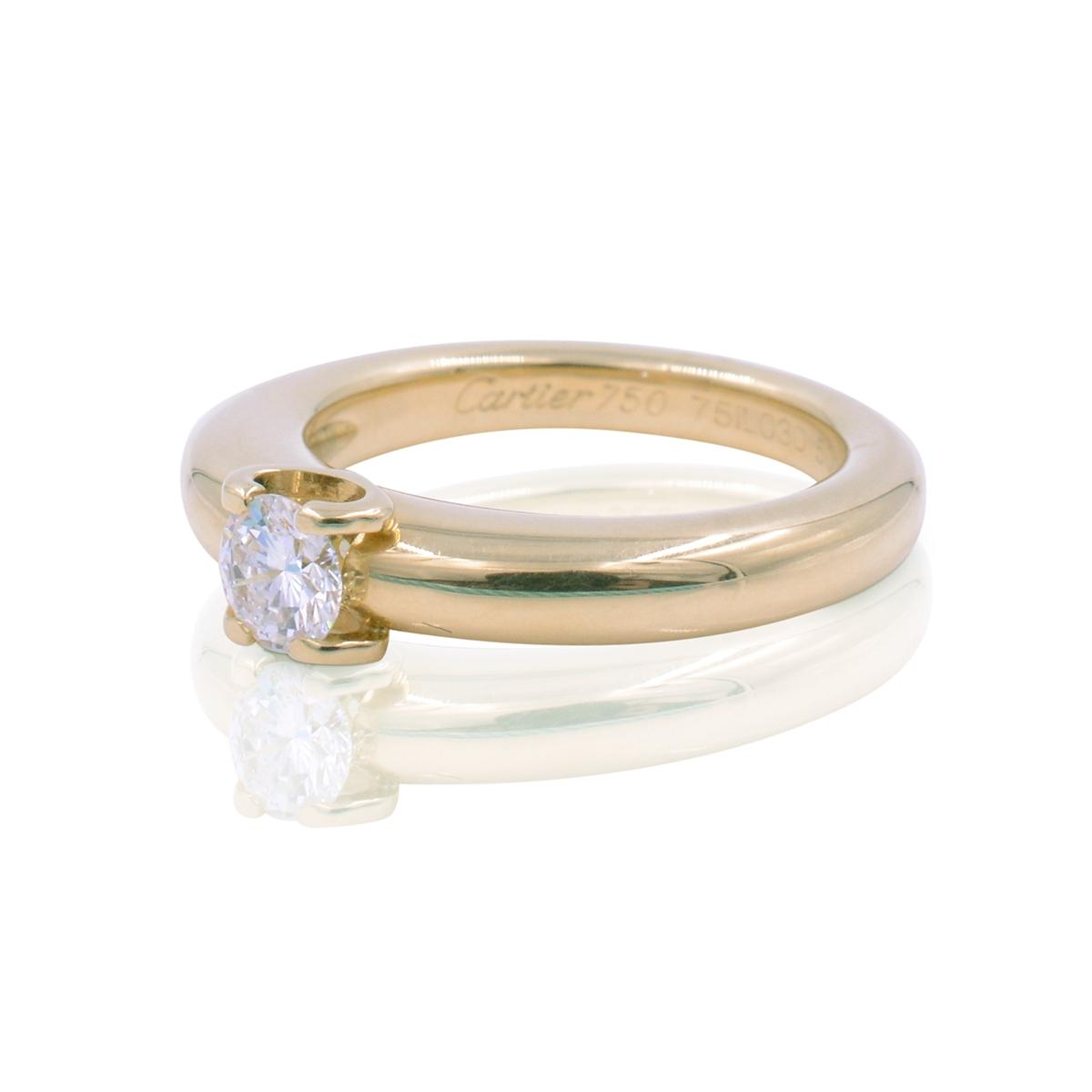 Cartier Engagement Rings   Up to 90  off at Tradesy Cartier Round Cut H Color Vs2 Clarity 0 30 Ct 18k Yellow Gold Diamond  Solitaire  18951