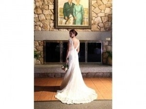 David's Bridal All Over Beaded Lace Trumpet Gown T9612