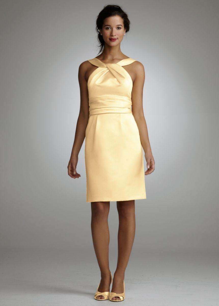 David s Bridal Yellow Short Cotton Dress With Y neck And Skirt     David s Bridal Yellow Short Cotton Dress With Y neck And Skirt Pleating  Dress