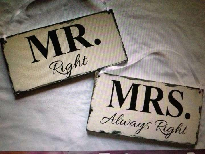 Mr Right & Mrs Always Right Painted Wedding Signs