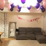 娘の誕生日パーティーかざりつけとカラオケ