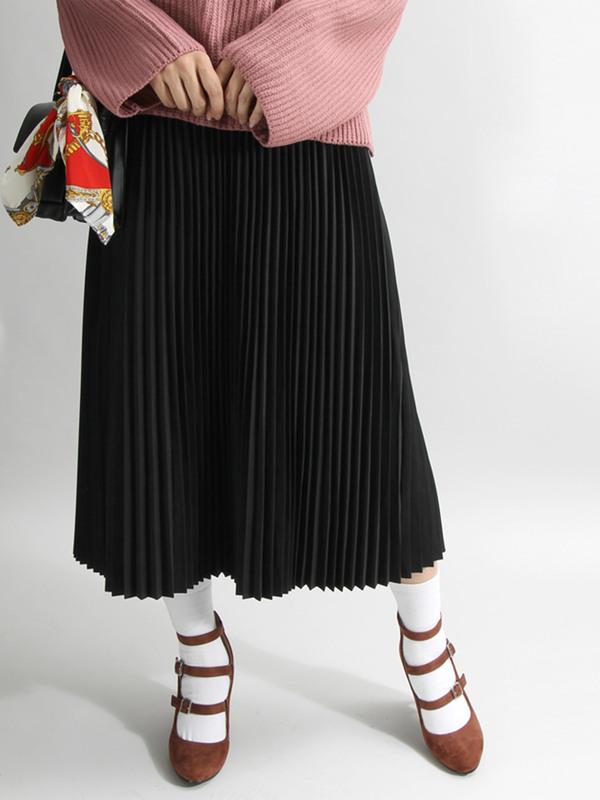 WEGO/プリーツロングスカート(Dオレンジ)