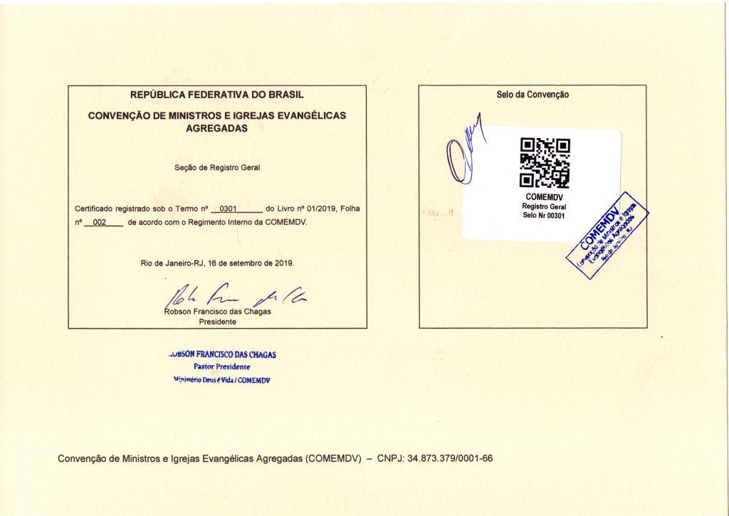 Verso do Certificado de filiação a Convenção 2019