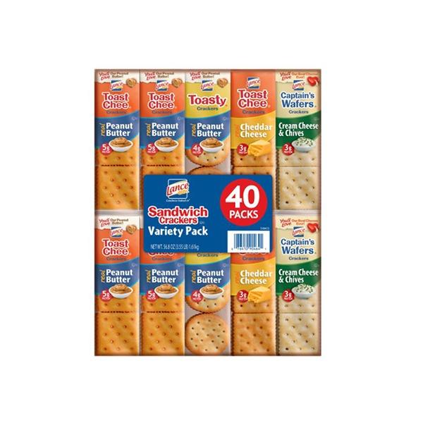 Paquete De Galletas Crujientes, Rellenas De Sabores Variados. Lance, Sandwich Crackers (40 Unidades)