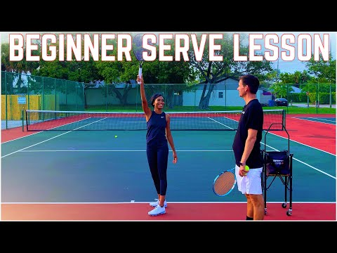 Beginner Tennis Serve Lesson with my Student Chrys