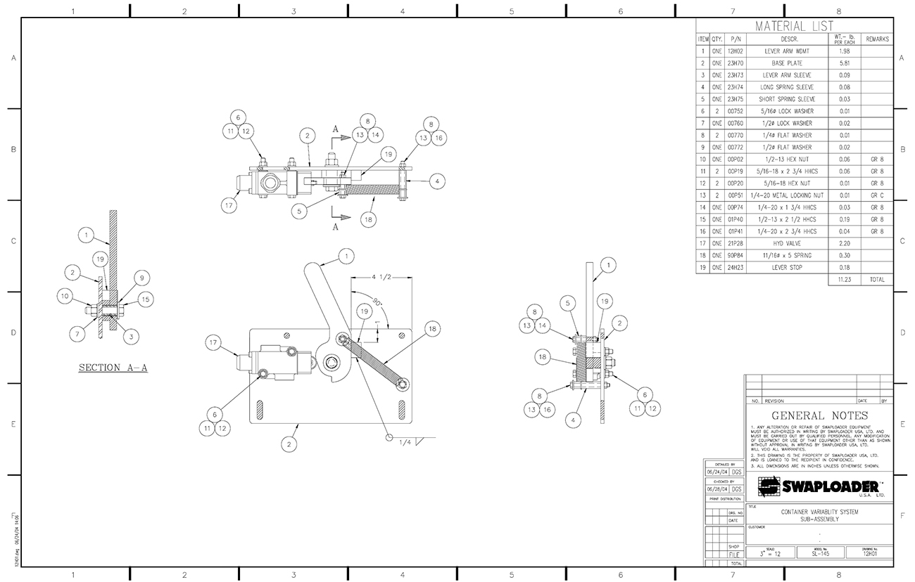 Sl 145 container variability system sub assembly diagram