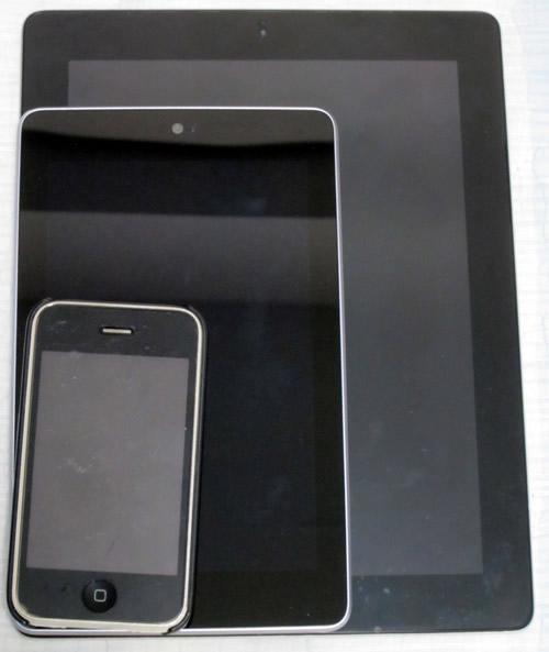 iPad 2,Nexus 7,iPhone 3GS比較