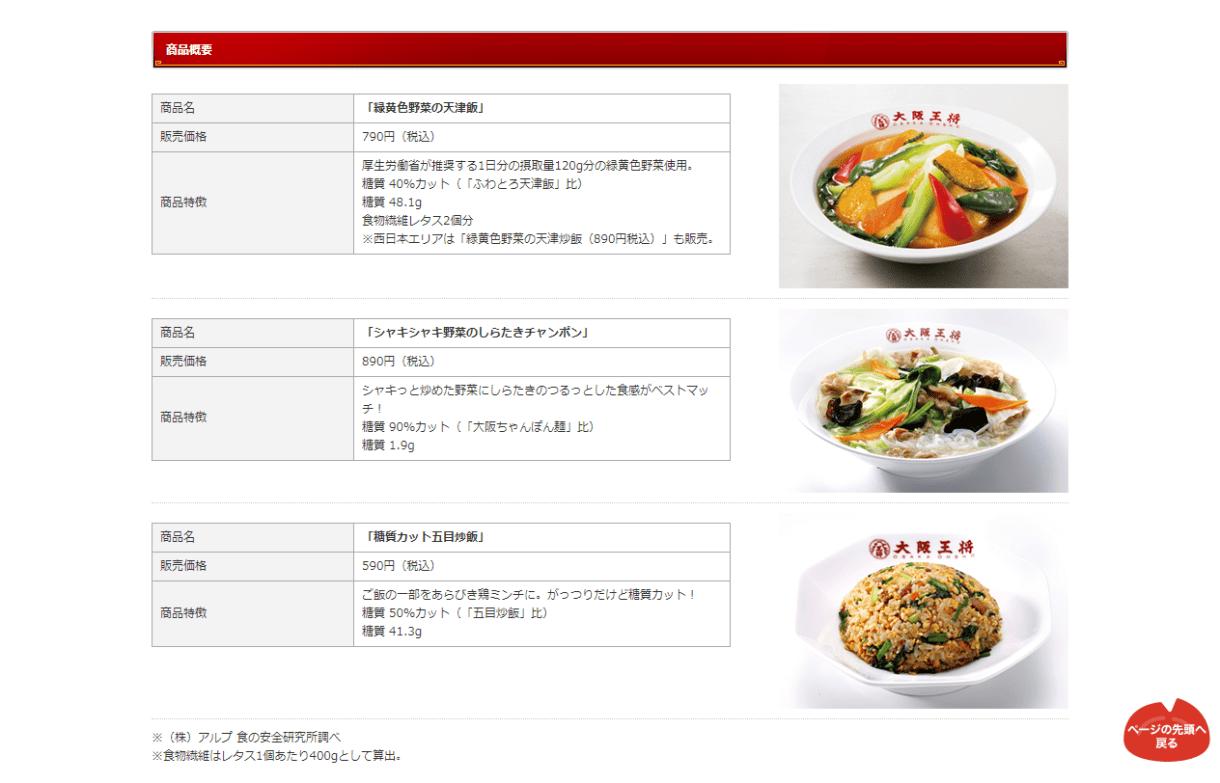 大阪王将 糖質カットメニュー